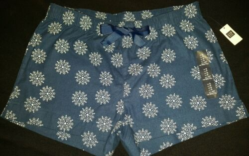 ~*NWT WOMENS GAP GAPBODY COMFY JAMMIE BOTTOMS SHORTS*~ BLUE SNOWFLAKES FANNEL