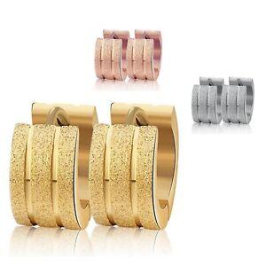 Damen-Herren-Unisex-12mm-Creole-Ohrring-aus-Edelstahl-silber-gold-rosegold