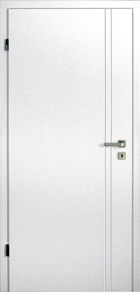 Zimmertüren Innentüren Weiße Tür: Türblatt + Zarge / RSP MDF 2 Rillen längs (V7)