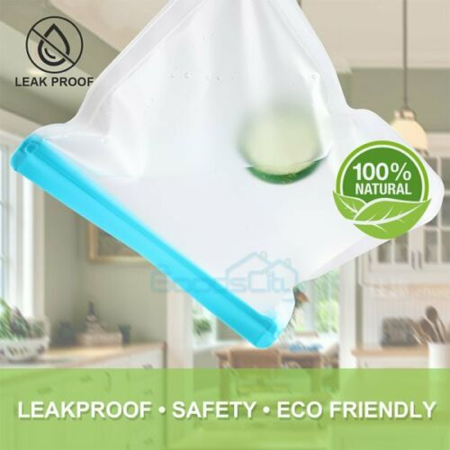 Reusable Silicone Food Fresh Bag Seal Storage Container Freezer Ziplock 10Pack