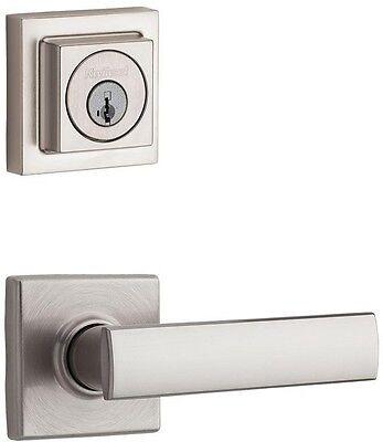 SmartKey Nickel Exterior Keyed Entry Door Knob Lever Key Deadbolt Lock Combo Set