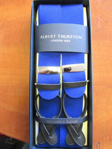 ALBERT THURSTON BOXCLOTH LEATHER END BRACES ONE SIZE ROYAL BLUE NEW COLOUR!!