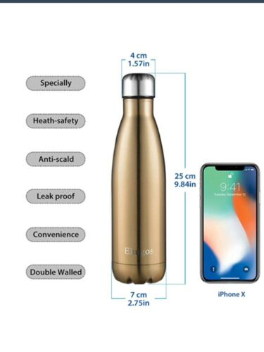 Ehugos Water Bottle 500ml Double Insulated Stainless Steel Vacuum Flask RED