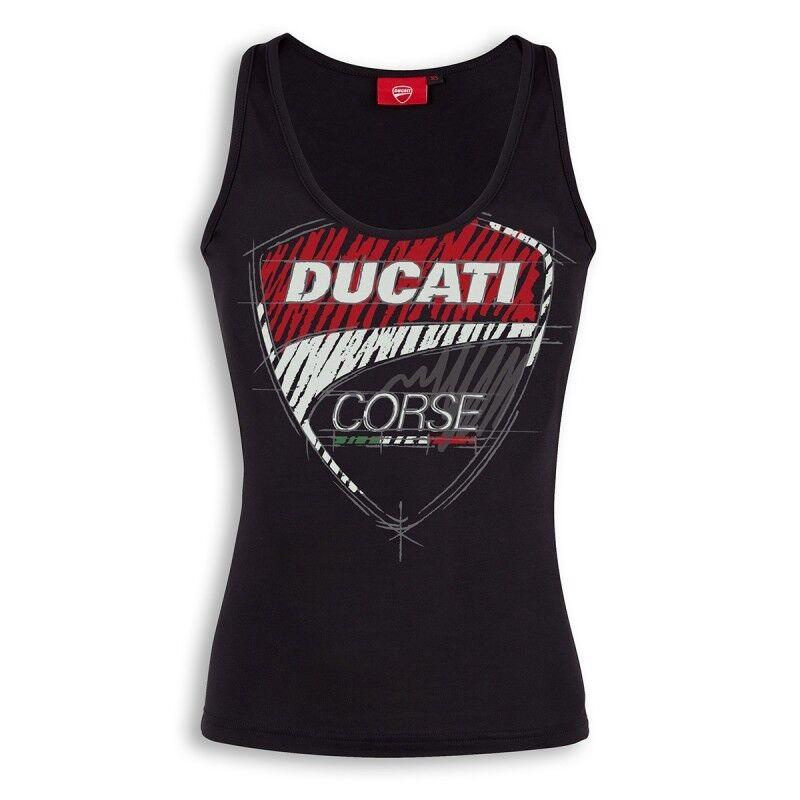 Ducati Corse Sketch Donna Tank Top senza Maniche Shirt Lady Nero Nuovo