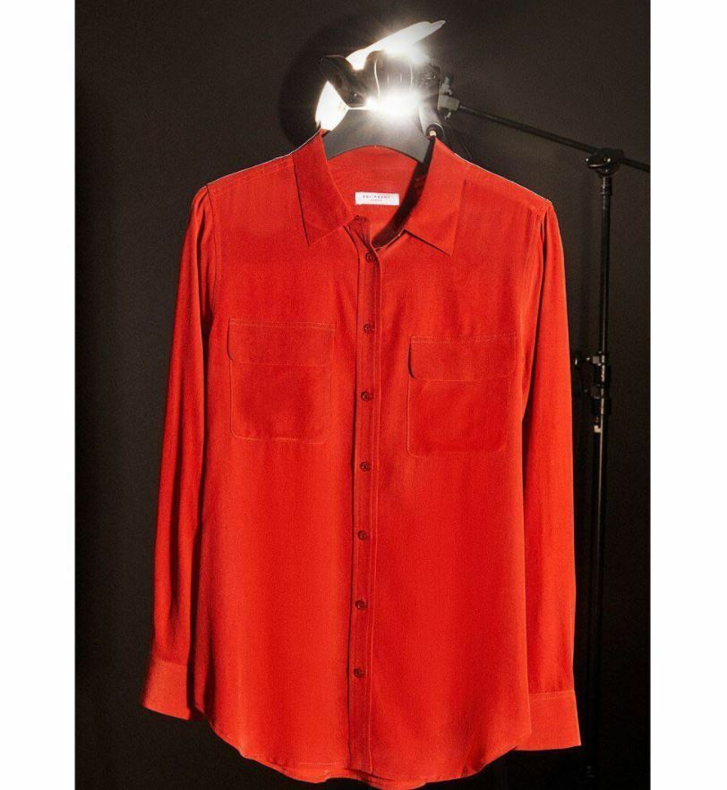 NWT Equipment Signature Silk Shirt French ROT Größe S 218