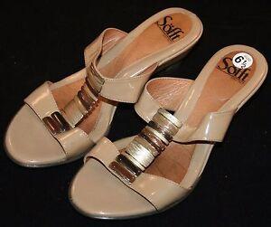 Sofft-Light-Brown-Heels-Sz-6-1-2-6-5-Slip-On-Open-Toe-Decorative-Dressy-Womens