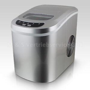 Eiswuerfelmaschine-Eiswuerfelbereiter-Eiswuerfel-Ice-Maker-Eis-Maschine-in-Silber