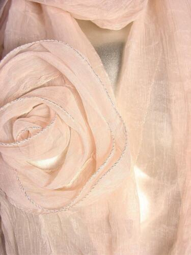 GORGEOUS Lightweight Silky Chiffon Silver Piping Flower Floral Wrap Scarf