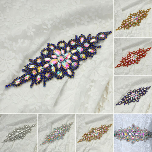 Glass Rhinestone Sewing Iron On Appliques Trims Bouquet Dress Craft DIY