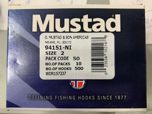Details about  /50 MUSTAD O/'SHAUGHNESSY-LIVE BAIT//94151-NI//SIZE 2-FISHING HOOKS-NICKEL-BEST HOOK