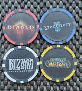 Blizzard Blizzcon Poker Chip Coins LOT4 World Warcraft Starcraft Diablo Employee