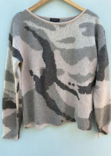 Rag and Bone Sweater Medium Gray Camo Print Crewn… - image 1