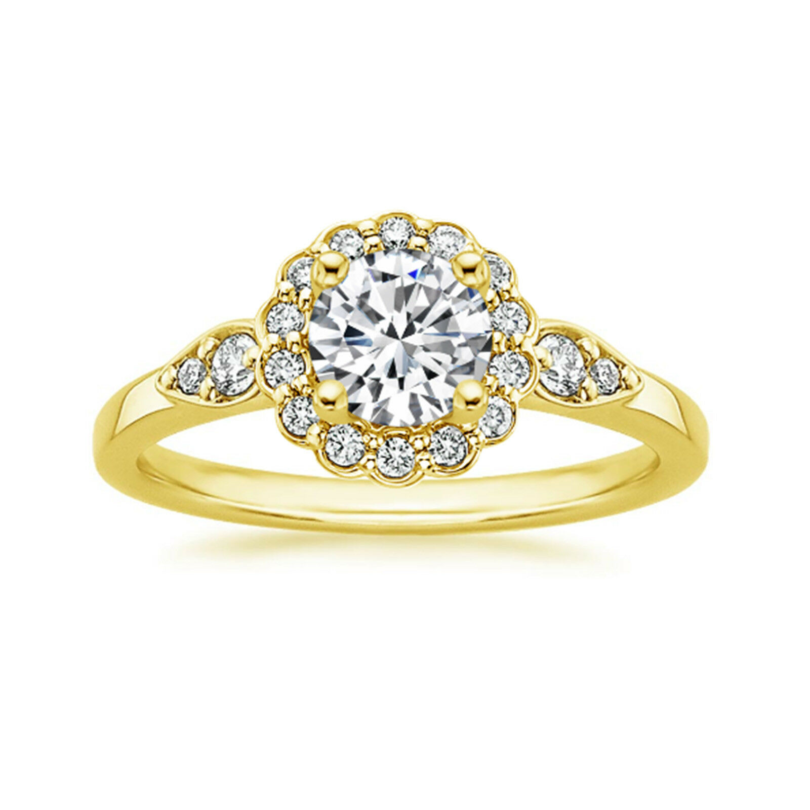 1.30 Ct Round Cut Moissanite Wedding Ring 14K Hallmarked Solid Yellow gold Rings