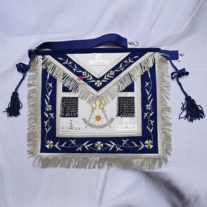 Masonic-Past-Master-Navy-Blue-Apron-Hand-Embroidered-Silver-TAU-amp-Silk-Cord-WLC