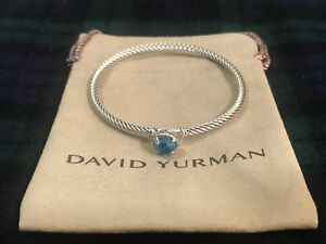 DAVID-YURMAN-Chatelaine-Bracelet-Sterling-Silver-with-Blue-Topaz-3mm-325-NWOT