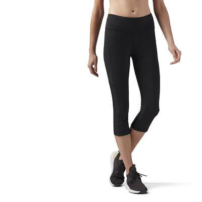 Reebok Womens Mesh Perforated Capri Tight 34 Cropped Gym Yoga Sports Leggings | eBay