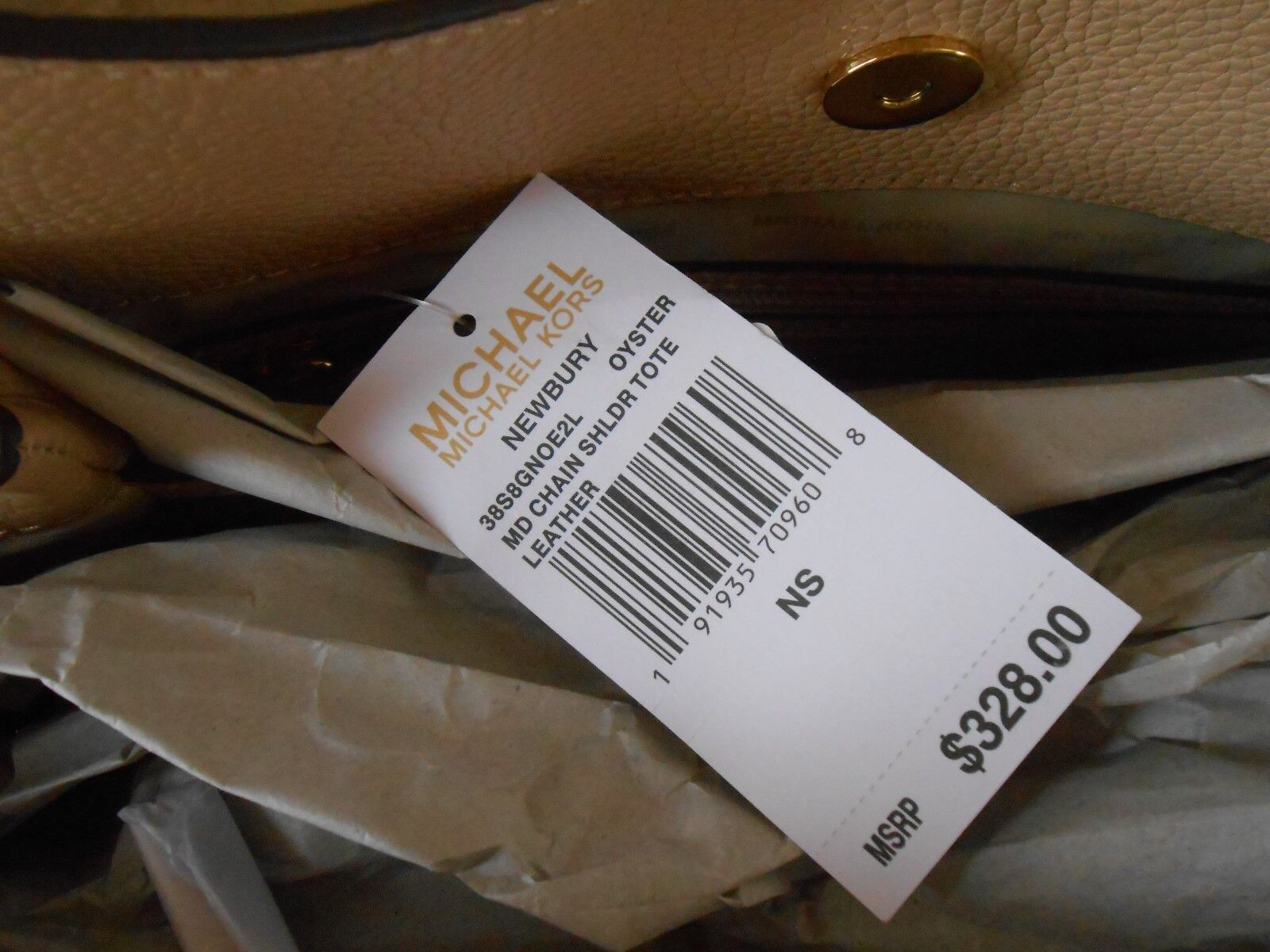 2fa8f9bb7cec Michael Kors Newbury MD Chain Shoulder Tote in Oyster Leather for sale  online
