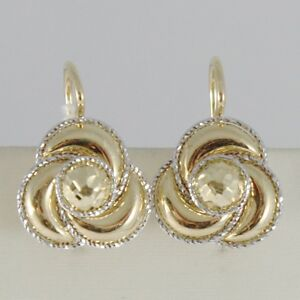 18K-YELLOW-WHITE-GOLD-EARRINGS-FLOWER-FINELY-WORKED-TWISTED-WAVES-MADE-IN-ITALY