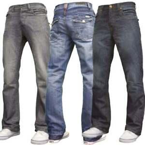 Nouveau Homme Bootcut Jambe Large Évasé Travail Casual Basic Denim Jeans Grandes Tailles BN