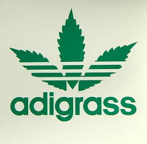 adigrass marihuana leaf logo parody vinyl sticker for laptop car