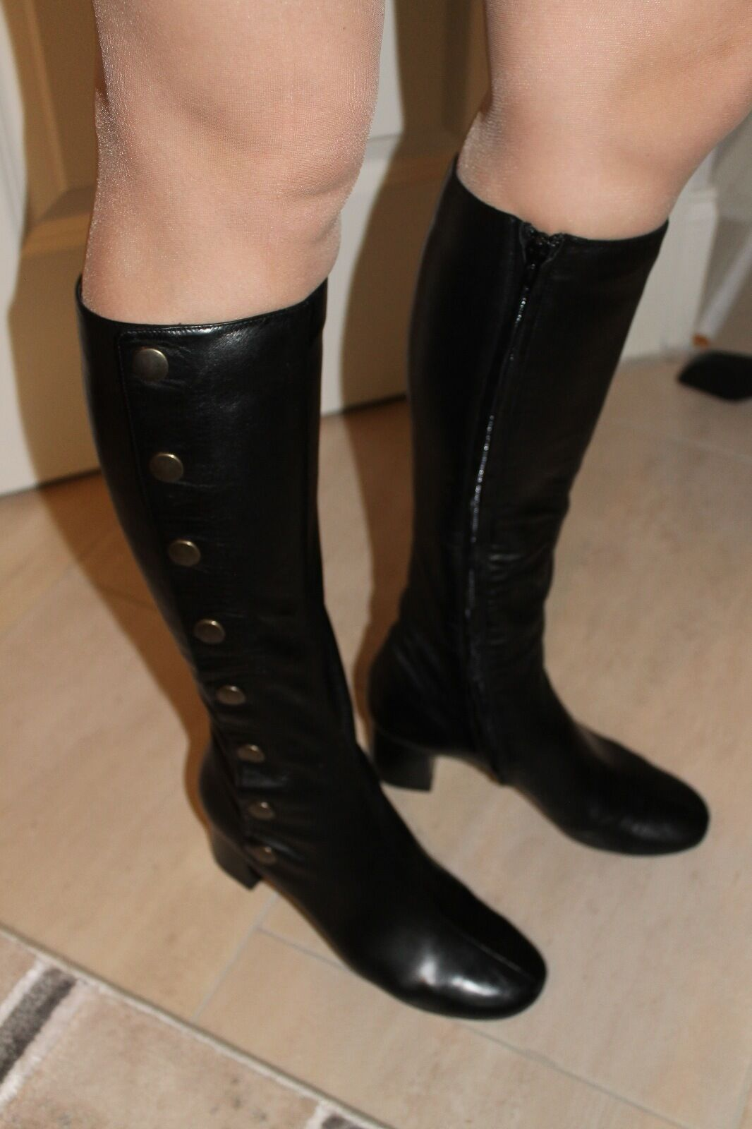 Chloe Brass Snap Button Black Leather Round Toe Knee HIgh Boots 36.5