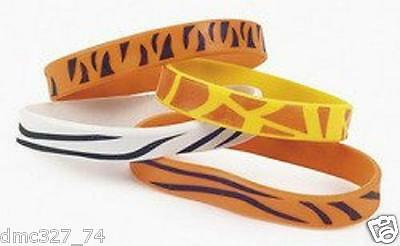 12 Birthday Party ZOO SAFARI Party Favors ANIMAL PRINT RUBBER BRACELETS