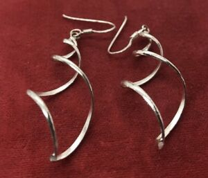 Vintage-Sterling-Silver-Earrings-925-Twist-Dangle-Drop-Marked-mc