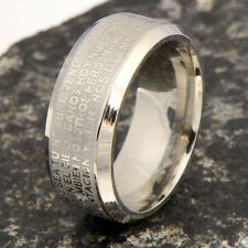 Nice White Gold Filled Holy Bible Cross Ring Pattern Unisex Band Ring Size 8