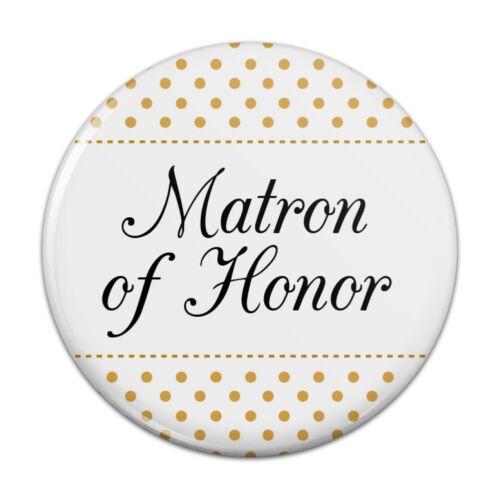 Matron of Honor Wedding Elegant Polka Dots Pinback Button Pin Badge