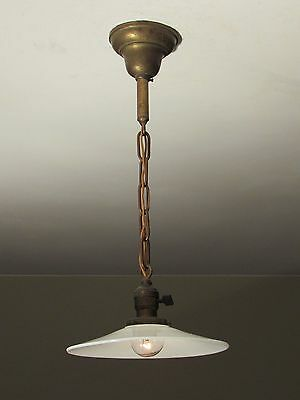MATCHING PAIR! of Antique Pendant Light Fixtures with Flat Opal Shades c. 1910