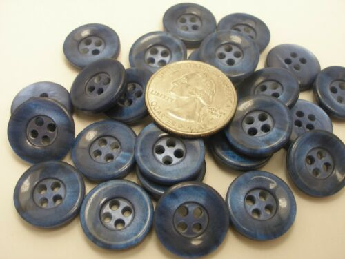 7//8 13//16,11//16 5//8  P10 New lots 12 Blue Pearly Plastic Buttons sizes 1 inch