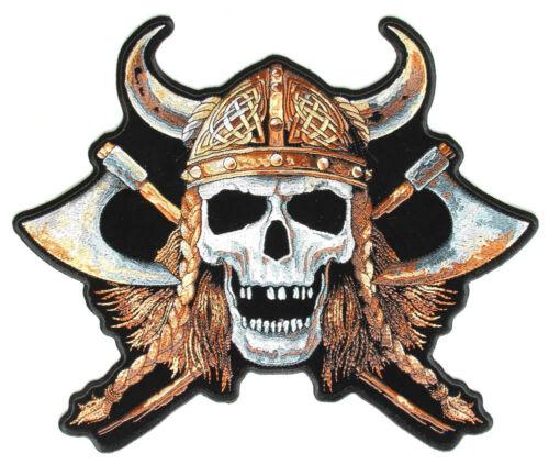Viking Skull Back Patch grandi ricamate aufbügler vichingo Odin Biker BACK PATCH