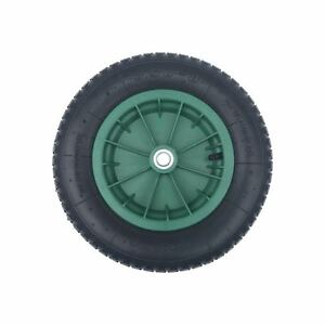 14 green pneumatic wheelbarrow wheel 16mm bearings hub length 82mm ebay. Black Bedroom Furniture Sets. Home Design Ideas