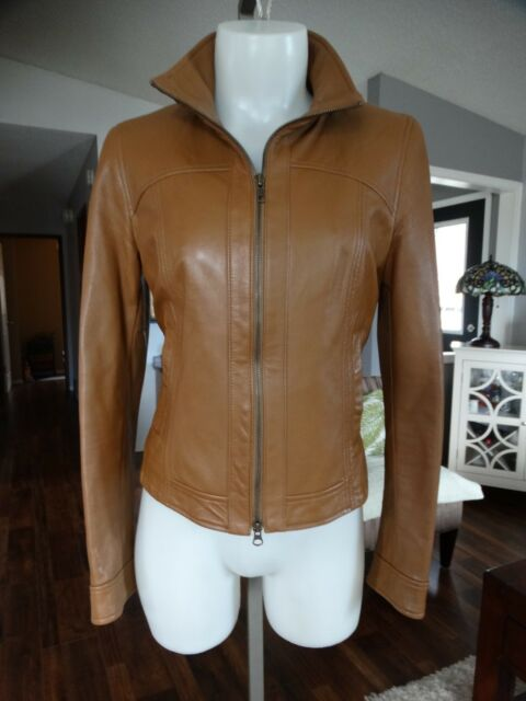 DANIER TAN ITALIAN LEATHER JACKET XS