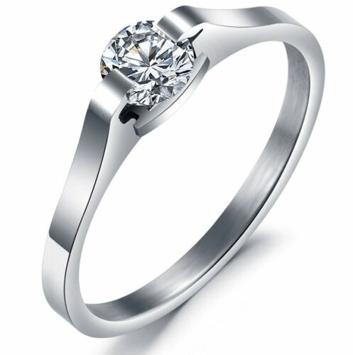 Korean style Titanium Steel Silver Classic W//Crystal Womens ring for Lover gift