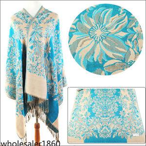 Nouveau-Mode-Femme-Bleu-100-Cachemire-Pashmina-Doux-Warmer-Wrap-Chale-Echarpe