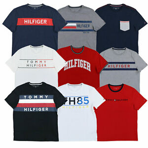 Tommy-Hilfiger-T-shirt-Mens-Graphic-Text-Tee-Short-Sleeve-Logo-Top-Casual-New