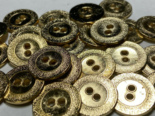 "Italian Designer Metal Button /""LP/"" /""Album/"" Design Brite Gold 15mm 20mm 2hole"