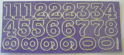 SPARKLE / GLITTER NUMBERS 30MM MAUVE PEEL OFF STICKERS CARDMAKING SCRAPBOOKING