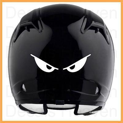 MOTORCYCLE HELMET WHITE OR BLACK REFLECTIVE VINYL DECAL STICKER EVIL EYES #2
