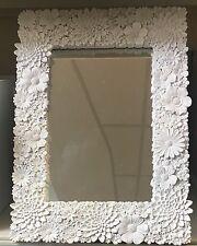 BIANCO DECORATA FLOREALE FIORI Mantello per tavolo da toeletta muro Rettangolo. SPECCHIO NUOVO