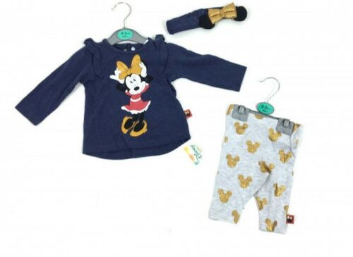 Disney Minnie Mouse Baby Girl Top /& Leggings Headband Outfit  Age 3 6 9 12 18 24