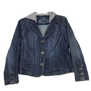 Sonoma-Blue-Jean-Denim-Blazer-Jacket-Womens-L-Large-Removable-Gray-Jersey-Hood
