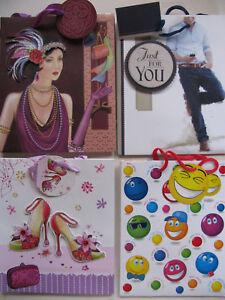 Gift Bags Various Design Medium Portrait Size Unicorn Art Deco Cat Tags Giftbags