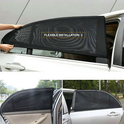 2x Car Rear Door Window Sun Visor Cover Shade Mesh Cover Shield UV Protector US