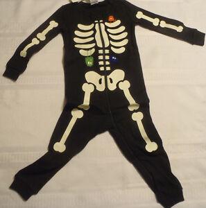 3b1a3de95888 Gymboree One Piece Black Zip Front Halloween Glows in Dark Gymmies ...