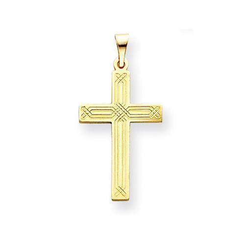 14k Yellow gold Hand Made Engraved Design Charm Cross Pendant Communion Gift