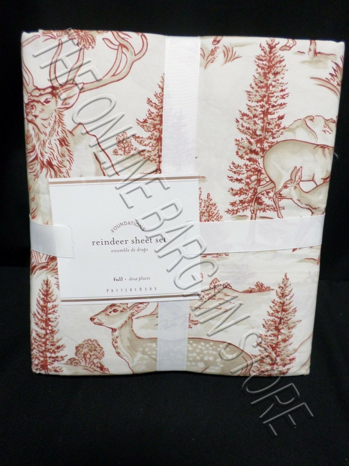 Pottery Barn Christmas Holiday Reindeer Winter Sketch Scene Bed Sheets Set Full