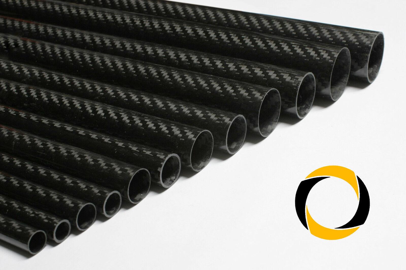 CFK-Rohr Premium Ø10-30mm Carbon glänzend 220g/m² 3K Köper CNC Fräsen Kohlefaser
