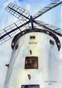 The-Mill-original-Gala-Kostroma-watercolor-Italy-landscape-painting-wind-art